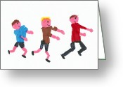 Male Athletes Greeting Cards - Children Running Greeting Card by Sheila Terry