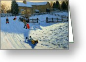 Great Painting Greeting Cards - Children Sledging Greeting Card by Andrew Macara