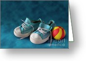 Football Photo Greeting Cards - Children Sneakers Greeting Card by Carlos Caetano