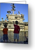 Ronald Greeting Cards - Children Wave As Uss Ronald Reagan Greeting Card by Stocktrek Images