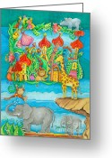 Childsroom Greeting Cards - Children Zoo Greeting Card by Sonja Mengkowski