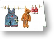 Clothesline Greeting Cards - Childrens clothes with teddy bear on clothesline Greeting Card by Sandra Cunningham