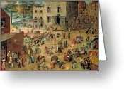 Buff Greeting Cards - Childrens Games Greeting Card by Pieter the Elder Bruegel