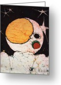 Artwork Tapestries - Textiles Greeting Cards - Childrens Moon Greeting Card by Alexandra  Sanders