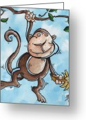 Madart Greeting Cards - Childrens Whimsical Nursery Art Original Monkey Painting MONKEY BUTTONS by MADART Greeting Card by Megan Duncanson