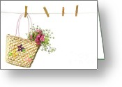 Clothesline Greeting Cards - Childs straw purse with flowers Greeting Card by Sandra Cunningham
