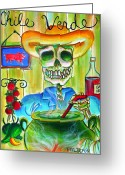 Pig Greeting Cards - Chile Verde Greeting Card by Heather Calderon