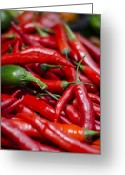 Chili Peppers Greeting Cards - Chili Peppers At the Market Greeting Card by Heather Applegate