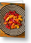 Chili Peppers Greeting Cards - Chili peppers in basket  Greeting Card by Garry Gay