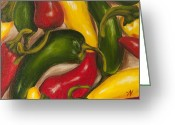 Spice Painting Greeting Cards - Chili Peppers Greeting Card by Nicole Okun
