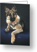 Dog Prints Pastels Greeting Cards - Chilli Greeting Card by Cynthia House