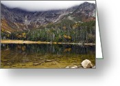Baxter Park Greeting Cards - Chimney Pond during fall - Baxter State Park Maine Greeting Card by Brendan Reals
