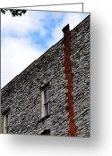 Grey Blue Greeting Cards - Chimney Remnants Greeting Card by Jan Amiss Photography