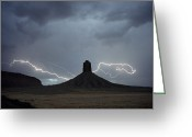 Silhouettes Greeting Cards - Chimney Rock Is Also Called Jackson Greeting Card by James L. Amos