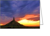 National Greeting Cards - Chimney Rock Nebraska Greeting Card by Olivier Le Queinec