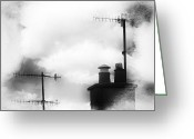 Cowl Greeting Cards - Chimney Stacks Greeting Card by David Ridley