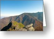 Smoky Mountains Greeting Cards - Chimney Tops Vista in Great Smoky Mountain National Park Tennessee Greeting Card by Brendan Reals