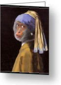 Earring Greeting Cards - Chimp with a Pearl Earring Greeting Card by Gravityx Designs