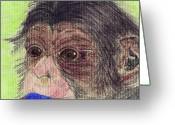 Chimpanzee Greeting Cards - Chimp With Blanket Greeting Card by Julie L Hoddinott