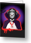 Count Dracula Greeting Cards - Chimpanzee In Dracula Costume Greeting Card by New Vision Technologies Inc