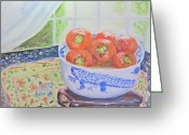 Persimmons Greeting Cards - China Bowl with Persimmons Greeting Card by Barbara Anna Knauf