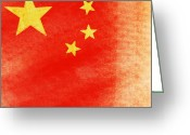 Antique Artwork Greeting Cards - China flag Greeting Card by Setsiri Silapasuwanchai