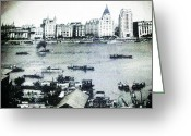 Black And White Tapestries - Textiles Greeting Cards - China Landscape Greeting Card by Unique Consignment