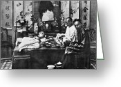 Narcotic Greeting Cards - China: Opium Smokers Greeting Card by Granger