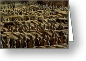 Qin Shi Huang Greeting Cards - Chinas Great Terracotta Army Is Seen Greeting Card by O. Louis Mazzatenta