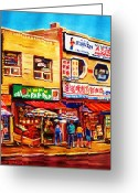 Wine For Two Greeting Cards - Chinatown Markets Greeting Card by Carole Spandau