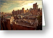 Nyc Graffiti Greeting Cards - Chinatown Rooftop Graffiti and the Brooklyn Bridge - New York City Greeting Card by Vivienne Gucwa