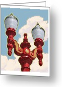 National Digital Art Greeting Cards - Chinatown Street Light Greeting Card by Mitch Frey