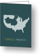 Multicultural Greeting Cards - Chinese America Poster Greeting Card by Irina  March