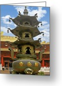 Buddhist Temple Greeting Cards - Chinese Ancient Relics - Bronze Cauldron Jingan Temple Shanghai Greeting Card by Christine Till