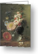 Aster  Painting Greeting Cards - Chinese Aster and Balsam in a Glass Vase Greeting Card by Cornelis Van Spaendonck