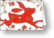 Hare Drawings Greeting Cards - Chinese Astrology Rabbit Greeting Card by Barbara Giordano
