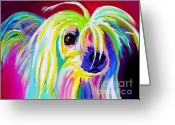 Acrylic Framed Greeting Cards - Chinese Crested - Fancy Pants Greeting Card by Alicia VanNoy Call