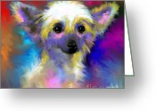 Contemporary Dog Portraits Greeting Cards - Chinese Crested Dog puppy painting print Greeting Card by Svetlana Novikova
