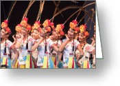 Trafalgar Greeting Cards - Chinese dancing girls Greeting Card by Andrew  Michael