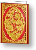 Religious Art Ceramics Greeting Cards - Chinese design Greeting Card by Somchai Suppalertporn
