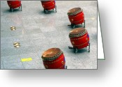 Rivet Greeting Cards - Chinese Drum Set Greeting Card by Yali Shi