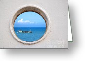 Porthole Greeting Cards - Chinese Fishing Boat Seen Through a Porthole Greeting Card by Yali Shi