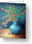 Plants Greeting Cards - Chinese Lanterns Greeting Card by Enzie Shahmiri