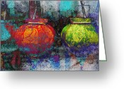 Shimmering Greeting Cards - Chinese Lanterns Greeting Card by Skip Nall