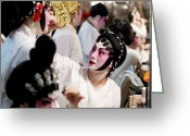Humans Greeting Cards - Chinese Opera Performers Prepare Greeting Card by Justin Guariglia
