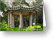 Lotus Leaves Greeting Cards - Chinese Pavilion in a Lotus Flower Garden Greeting Card by Yali Shi
