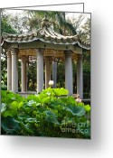 Lotus Leaves Greeting Cards - Chinese Pavilion in a Lotus Garden Greeting Card by Yali Shi