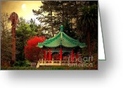 Golden Gate Park Greeting Cards - Chinese Pavilion Under Golden Moonlight Greeting Card by Wingsdomain Art and Photography