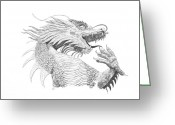 Sarah Zilbershteyn Greeting Cards - Chinese Temple Dragon Greeting Card by Sarah Zilbershteyn