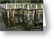 Bannister Greeting Cards - Chinese Zigzag-Bridge Greeting Card by Yali Shi